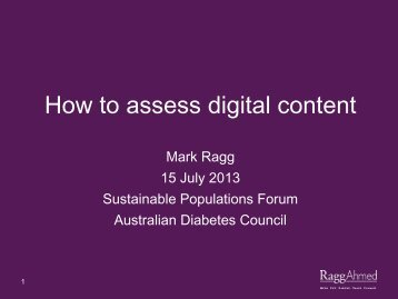 How to assess digital content - Australian Diabetes Council