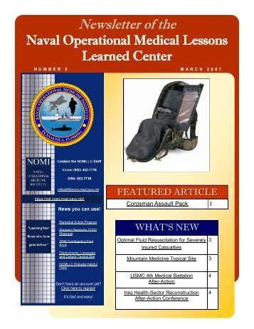 NOMLL - NAVAL OPERATIONAL MEDICAL LESSONS LEARNED