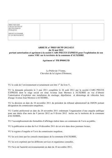 Cars pièces express à Auxerre - 0,30 Mb - Préfecture de l'Yonne