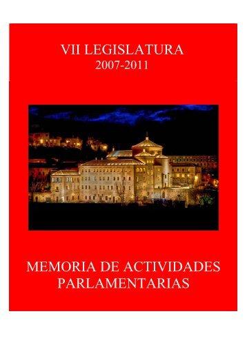 memoria de actividades parlamentarias vii legislatura - Cortes de ...