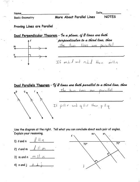 More About Parallel Lines NOTES Proving Lines Are Parallel
