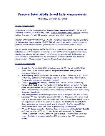 Fairborn Baker Middle School Daily Announcements - Fairborn City ...