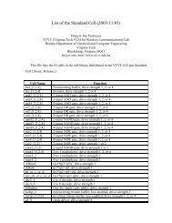 List of the Standard Cell (2003/11/01) - Virginia Tech