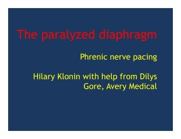 The paralyzed diaphragm - Hilary Klonin