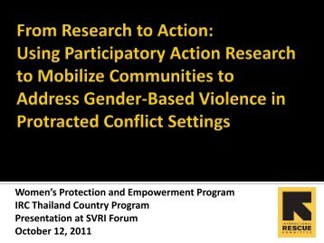 Women's Protection and Empowerment Program IRC Thailand Country ...
