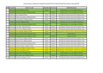 2012 Dönüştürülen Okulların Listesi SON Hali