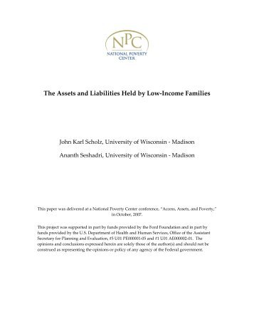 The Assets and Liabilities Held by Low-Income Families - National ...