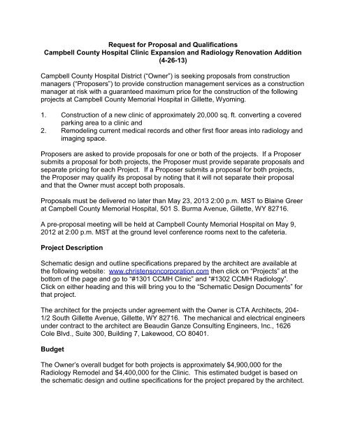 Request for Proposals and Qualifications - Christenson Corporation