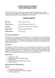 intern_Job Description_2011 - Crafts Council of Ireland