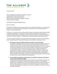 The Alliance comments on wellness program regulations