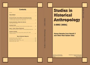 Short Fieldwork Reports - Studies in Historical Anthropology