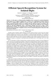 Efficient Speech Recognition System for Isolated Digits - IJCSET