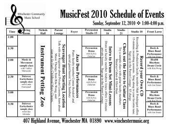 MusicFest 2010 Schedule of Events