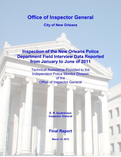 OIG Inspection of NOPD Field Interview Data Final Report