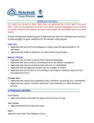 Camper Application Form - Rehoboth Christian Ministries
