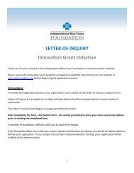 LETTER OF INQUIRY Innovation Grant Initiative - Independence ...