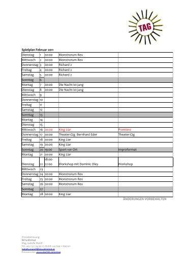 ÄNDERUNGEN VORBEHALTEN Spielplan Februar 2011 ... - Das Tag