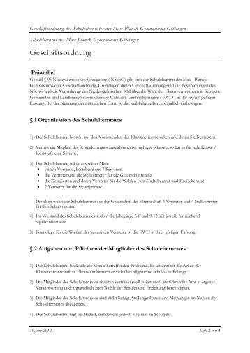 Geschäftsordnung des SER - Max-Planck-Gymnasium Göttingen
