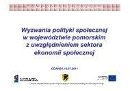 Wyzwania polityki społecznej w województwie pomorskim z ...