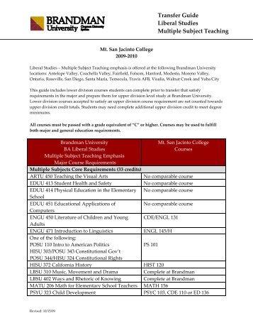 2009 Liberal Studies Multiple Subject Teaching Mt San Jacinto ...