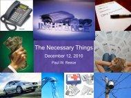 The Necessary Things - Faith Fellowship Church