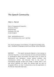 The Speech Community - University of Essex Research Repository