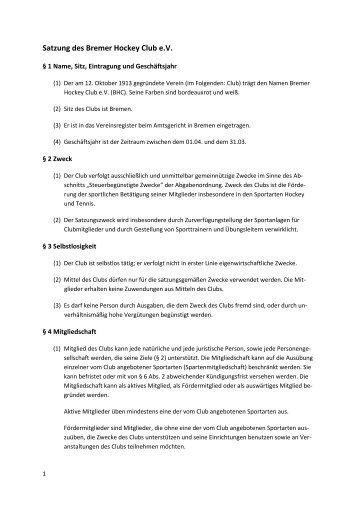 Satzung des Bremer Hockey Club e - Bremer Hockey Club e.V.