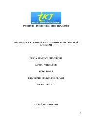 programi i lëndës: psikologji - Instituti i Zhvillimit te Arsimit
