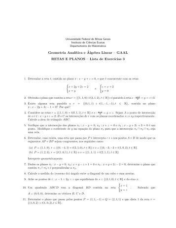 Lista 3 - Departamento de Matemática