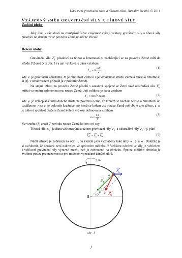 Gravitační a tíhová síla - řešení úlohy