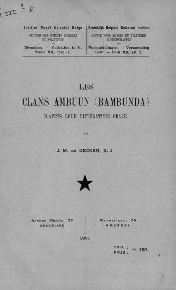 DE DECKER, M. Les clans Ambuun (Bambunda)