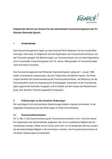 Erläuternder Bericht zum Feuerschutzreglement - in der Gemeinde ...
