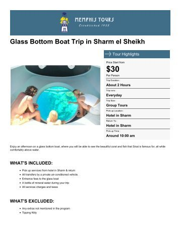 Glass Bottom Boat Trip in Sharm el Sheikh - Memphis Tours Egypt