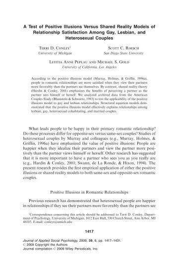 the effects of positive illusions on relationship quality The self-fulfilling nature of positive illusions in romantic relationships: love is not blind, but prescient journal of personality and social psychology, 71(6), 1155-1180 doi:101037/0022.