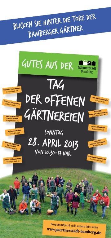 Flyer: Tag der offenen Gärtnereien am 28. April 2013 - Stadt Bamberg