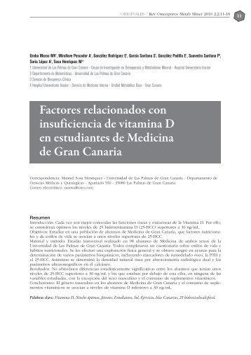 Factores relacionados con insuficiencia de vitamina D en ...