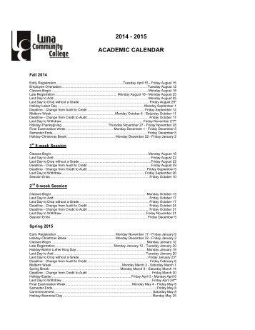 2014 - 2015 ACADEMIC CALENDAR