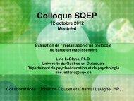 Colloque SQEP - La Société québécoise d'évaluation de programme