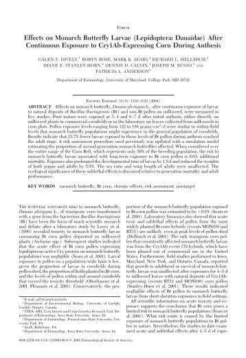 Effects on Monarch Butterfly Larvae (Lepidoptera ... - Biosicherheit