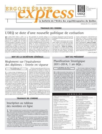 Juin - Ordre des ergothérapeutes du Québec