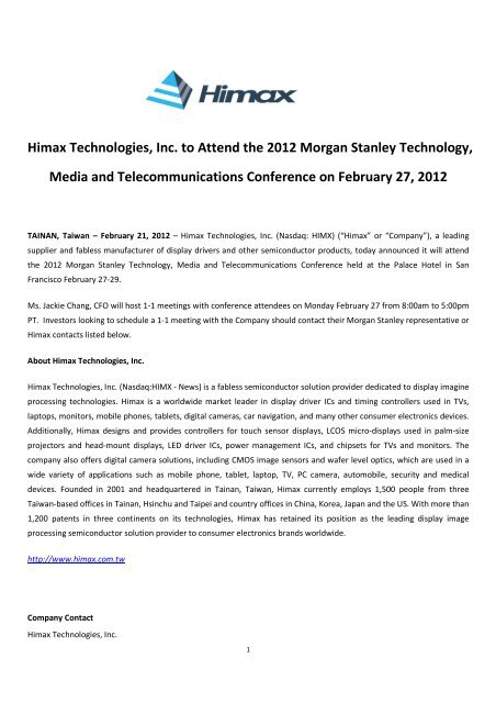 Himax Technologies, Inc  to Attend the 2012 Morgan Stanley