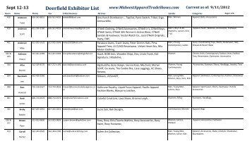 Deerfield Exhibitor List - Midwest Apparel Trade Shows