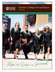 Annual Report 2009 – 2010 [PDF - 6 MB] - Durham College