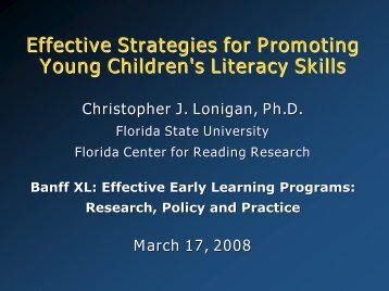 Effective Strategies for Promoting Young Children's Literacy Skills
