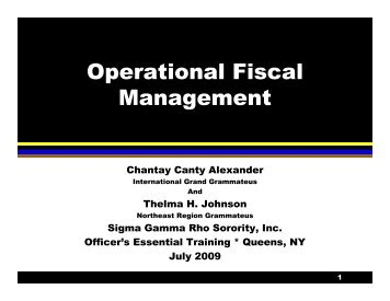 Operational Fiscal Management - Sigma Gamma Rho Sorority, Inc.