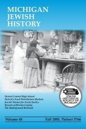 MICHIGAN JEWISH HISTORY - Jewish Historical Society of Michigan