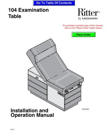 Ritter 204 Manual Examination Table Dimensions Midmark