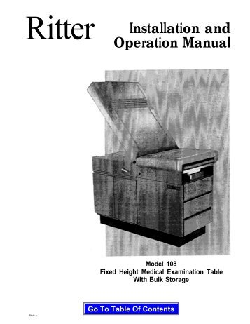 104 Examination Table Installation And Operation Manual