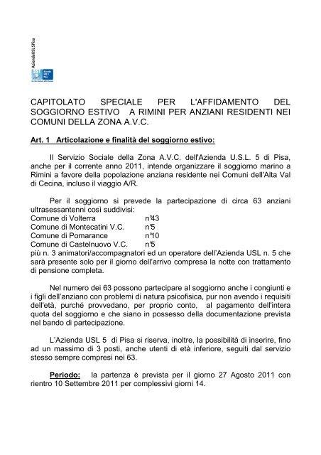 Capitolato Pdf Azienda Usl 5 Pisa