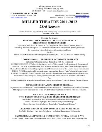 2011-2012 Season Announcement -  Miller Theatre